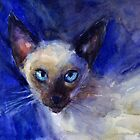 Watercolor Siamese Cat painting Svetlana Novikova by Svetlana  Novikova