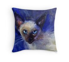 Watercolor Siamese Cat painting Svetlana Novikova Throw Pillow