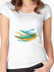 Abstract Watercolor Brush Women's Fitted Scoop T-Shirt