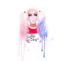 Harley Quinn - Suicide Squad Watercolour Portrait Photographic Print
