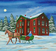 Sleigh Ride With A Full Moon by Charlotte  Blanchard