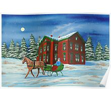 Sleigh Ride With A Full Moon Poster