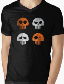 Halloween Four Skull - Orange and White Mens V-Neck T-Shirt
