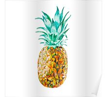 Low Poly Watercolor Pineapple Poster