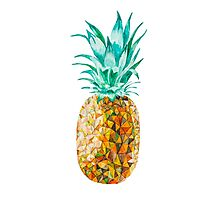 Low Poly Watercolor Pineapple Photographic Print
