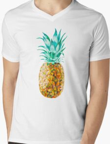 Low Poly Watercolor Pineapple Mens V-Neck T-Shirt