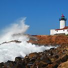 Wave Breaks on Eastern Point Light - Gloucester by Steve Borichevsky