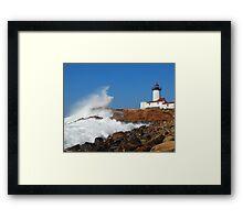 Wave Breaks on Eastern Point Light - Gloucester Framed Print