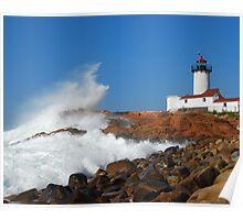 Wave Breaks on Eastern Point Light - Gloucester Poster