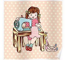 Little girl sewing Poster