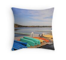 Sacramento State College Aquatic Centre Boat dock Throw Pillow