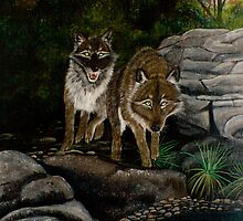 Wolves by the River - Greeting Cards by richardyoung1
