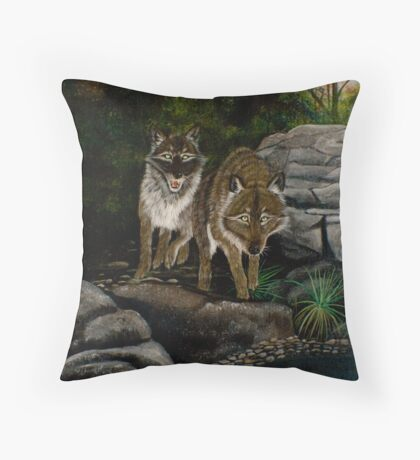 Wolves by the River - Greeting Cards Throw Pillow