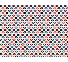 Retro Lips Pattern Photographic Print