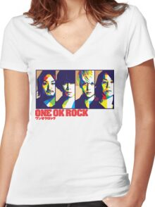 One Ok Rock !!! Women's Fitted V-Neck T-Shirt