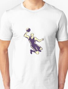Basketball Player Dunk Ball Woodcut Unisex T-Shirt