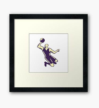 Basketball Player Dunk Ball Woodcut Framed Print