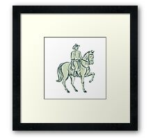 Cavalry Officer Riding Horse Etching Framed Print