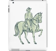 Cavalry Officer Riding Horse Etching iPad Case/Skin