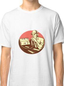 Ham Radio Operator Circle Woodcut Classic T-Shirt