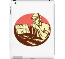 Ham Radio Operator Circle Woodcut iPad Case/Skin