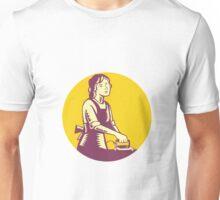 Housewife Ironing Circle Woodcut Unisex T-Shirt