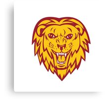 Angry Lion Big Cat Head Roar Canvas Print