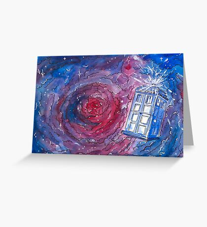 TARDIS in watercolour 01 Greeting Card