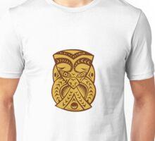 Maori Mask Woodcut Unisex T-Shirt