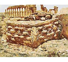 Colonnade and Sculptured Capital in Palmyra, Syria 19th century Photographic Print