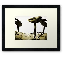 Bar shadows..through beer glasses.. Framed Print