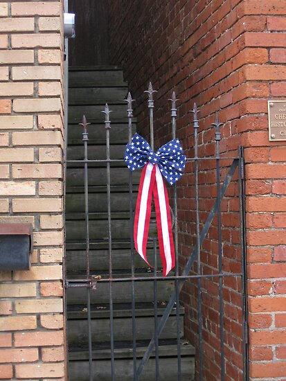 Old Iron Gate and US Flag Banner by Glenn Cecero