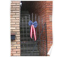 Old Iron Gate and US Flag Banner Poster