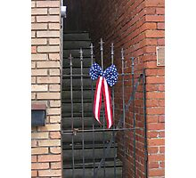 Old Iron Gate and US Flag Banner Photographic Print