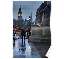Looking down Whitehall in the rain Poster