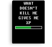 What doesn't kill me, gives me xp (white) Canvas Print