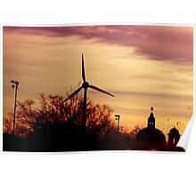Of Sunrises And Wind Turbines Poster