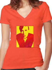 Young Andy Warhol Women's Fitted V-Neck T-Shirt