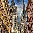 France. Normandy. Rouen. Looking at the Cathedral Towers. by vadim19