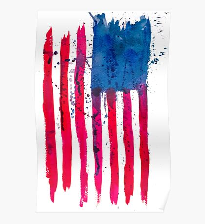Watercolor Flag of the USA vertical Poster