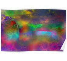Colorful abstract landscape over lake Poster