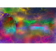 Colorful abstract landscape over lake Photographic Print