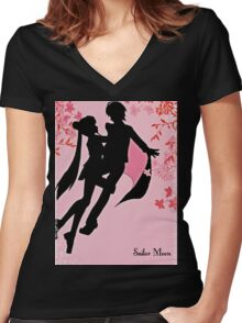 sailor moon silhouette with blossoms Women's Fitted V-Neck T-Shirt