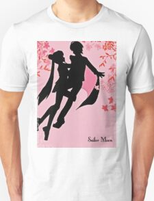 sailor moon silhouette with blossoms T-Shirt