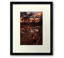 A Log Enjoys A Sunset Framed Print