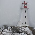 Peggy's point light Snow Storm by Roxane Bay