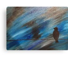 bird on a wire blue Canvas Print
