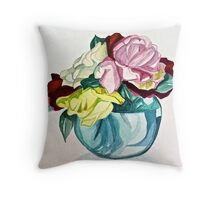 Roses in blue vase Throw Pillow