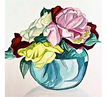 Roses in blue vase Photographic Print