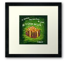 Green Christmas Square - Manger Framed Print